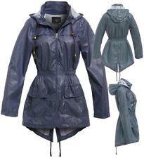 Womens Rain Mac Showerproof Raincoat Ladies Jacket Denim Blue Hooded 8 - 16