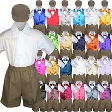 5pc Dark Khaki Boys Toddler Formal Vest Shorts Suit Satin Vest Bow Tie Hat Set