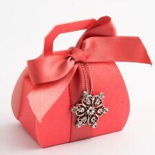 CORAL TEXTURED HANDBAG WEDDING DIY FAVOUR BOXES PARTY BOX