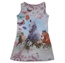 Mädchen Kinder Sommerkleid Kleider Tunika Shirt Schimmel Pferd Pferde Kleid Neu