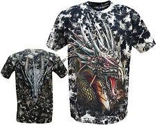 New Mens Chinese Dragon Glow in the Dark Gothic Tye Dye T- Shirt M - XXL