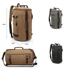 Unisex Sturdy Canvas Medium Barrel Backpack Tote Shoulder Gym Travel Bag UK
