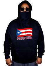 Men's Grunge Puerto Rico Flag Mask Hoodie Puerto Rican Boricua Sweater Jacket