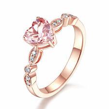 14K Rose Gold Engagement Ring 7 mm Heart Peach Morganite 0.1 Ct Natural Diamonds