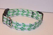 Wet Nose Designs Celtic Cross Dog Collar Irish St Patricks Day Green White