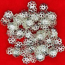 7 mm plata plateado filigrana abalorios casquillos de extremo Fabricación de Joyas Artesanía Hallazgos granos