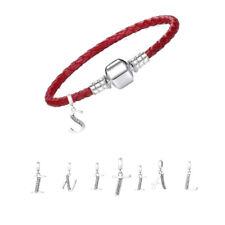 Pulsera inicial-Cuero Rojo Pulsera Personalizados-carta pulsera con dijes