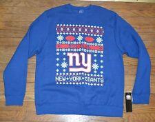 New York Giants NFL UGLY SWEATER Sweatshirt BIG BLUE Licensed Majestic Genuine