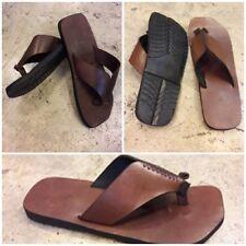 Brown Leather Boho Jesus Sandals Handmade Roman Toe Post Flats Flips Mens Tomboy