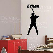 Baseball Hitter Batting Player Wall Room Custom Name Vinyl Wall Decal Sticker F