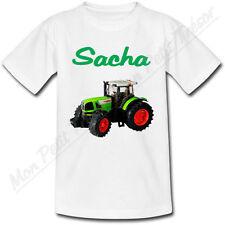 T-shirt Enfant Tracteur Vert avec Prénom Personnalisé