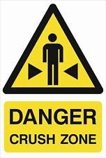 Pericolo SCHIACCIAMENTO zona A5/A4 adesivo o Foamex-Health & Safety segni-resistente alle intemperie