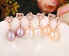 Rose Gold Waterdrop Freshwater Pearl Cubic Zirconia CZ Heart Earrings Bridal PE5