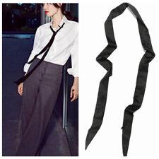 Locelywear Extra Long Black Narrow Scarf Ribbon Neck Tie Choker Waistband Belt