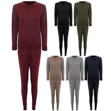 Women's Long Sleeve Stretch Tracksuit Plain Lounge Wear Jogging 2 Piece Suit