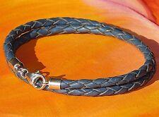 Ladies 4mm Dark Blue braided leather & sterling silver bracelet by Lyme Bay Art