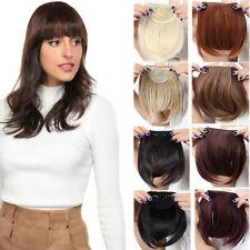 Girls Ladies Thick Human Hair Fringe Bangs Clip on in Black Brown Hair Extension