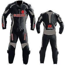 BLACK SUZUKI GSXR BIKER MOTORCYCLE LEATHER SUIT MOTORBIKE LEATHER JACKET TROUSER
