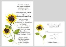 100 Personalized Custom Sunflower Bridal Wedding Invitations Set RSVP Cards