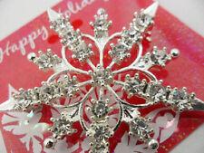 Stunning silver tone crystal frozen snowflake flower brooch hat pin