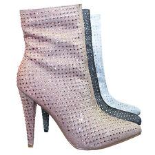 1b00bbd5f2a Magnolia09 Rhinestone Crystal Embellished High Heel Ankle Bootie In Mesh  Glitter