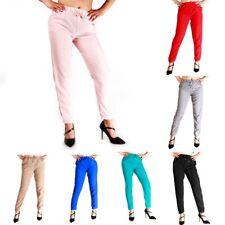 6X(Ladies Lace Up Fashion Chiffon Mid Waist Pants Elastic Waist Long Pants Y5F6