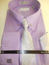 Mens Lilac Purple Fancy Collar Bar Dress Shirt Gorgeous Tie & Cuff Links 4362