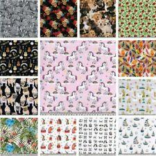 100% Digital Cotton Fabric Pugs Music Llama Dogs Unicorn Floral Skull 145cm Wide