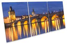 Charles Bridge Prague Picture CANVAS WALL ART TREBLE Print