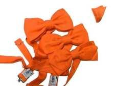 Papillon uomo arancione di seta possibile aggiungere pochette per completo top