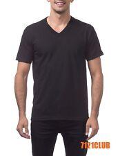 PRO CLUB HEAVYWEIGHT V NECK T SHIRT BLACK ProClub Mens Plain Short Sleeve S-5XL