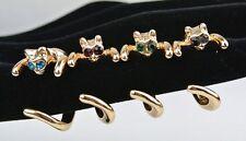 Gold Cat Kitty Kitten Crystal Rhinestone Finger Ring Size Adjustable Wrap Around