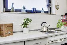 Küchenrückwand Fliesenspiegel Mosaik Keramik Hexagon weiß Glanz Art:11A-0102_b