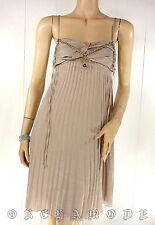 Robe CHATTAWAK beige bijou pendentif Plissé Fête T 38 / 40 M + 40 / 42 L NEUF