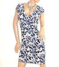 ABITO BIANCO NERO BLU vestito donna manica corta pois scollatura a V dress E138