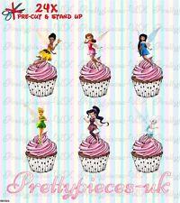 Tinkerbell Y Sus Amigos Hada 24 Stand-Up Taza de papel de oblea de pre-cortado Cake Toppers