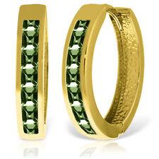 Genuine Princess Cut Green Sapphires Huggie Hoops Earrings set in 14K Solid Gold