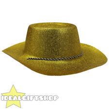 GLITTER ORO CAPPELLO Cowboy Adulti Cowgirl Western Wild West Costume Accessorio