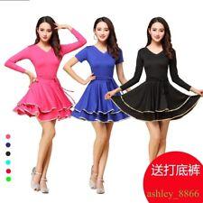 Womens Dance Dress Slim Mini Latin Tango Ballroom Costume Square Short Sleeve