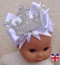 Headband White Christening Newborn Baby Crown Hair Bow Photo Prop