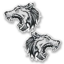 2 X Angry Wolf Etiqueta Auto Moto Ipad Laptop Casco Salvaje Perro Mascota Animal # 5344