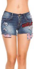 Koucla Jeansshorts  Kurze Hose Jeans Shorts mit Aufnähern