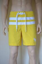 Abercrombie & Fitch Morgan Montaña Swim Board Shorts Amarillo A Rayas S RRP £ 54
