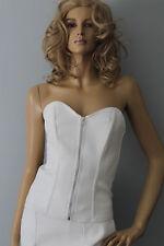Sexy Blanco Skin Tight Clothing imitación cuero Bustier todos los tamaños