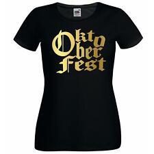 Ladies Black Oktoberfest Festival T-Shirt Shirt Germany Beer Drinking Sausage