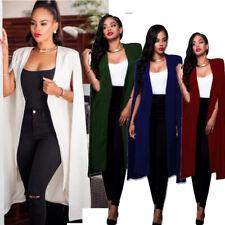 Fashion Women Long Coat Cloak Cape Blazer Suit Jacket Trench Poncho Outwear Tops
