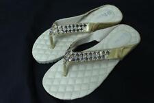 Women's Rhinestone Gold Color Plain Mid-Heel Flip Flops Sandals Thongs Shoes