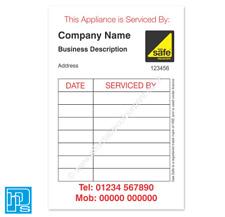 Gas Safe Boiler Service Reminder Stickers