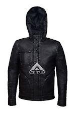 GHOST PROTOCOL Men's Black WRINKLED Hooded Mission Impossible Leather Jacket