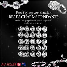 A-Z 925 Sterling Silver Diamond Charm European Bracelet Ladies Pendant Women